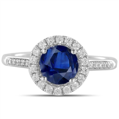 Round Blue Sapphire & Diamond Halo Ring DHDOMDSC43BSC Image