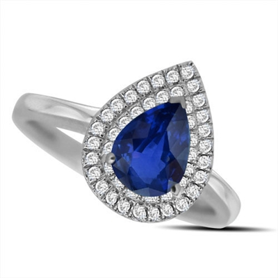 Pear Blue Sapphire & Diamond Halo Ring DHRX4848BSC Image