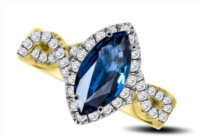 Marquise Blue Sapphire & Diamond Halo Ring DHRX5393BSC Image