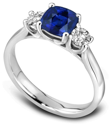 Modern Blue Cushion Sapphire Trilogy Ring DHDOMR3264BSC Image