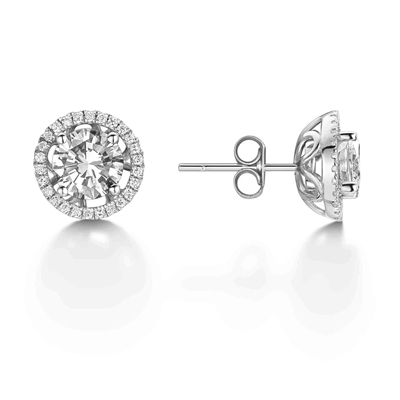 Round Diamond Single Halo Earrings DHEX3670 Image