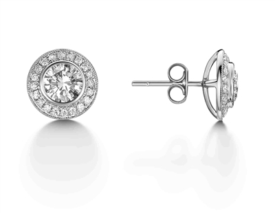 Modern Round Diamond Halo Cluster Earrings DHEX4037 Image