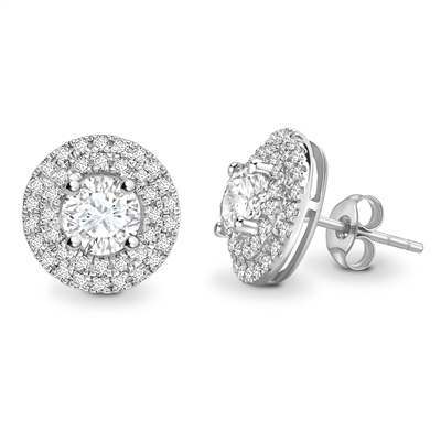 Round Diamond Double Halo Earrings DHEX4046 Image