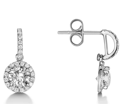 Elegant Round Diamond Single Halo Earrings DHEX4019 Image