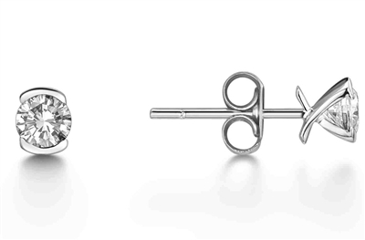Crossover Round Diamond Stud Earrings DHEX4585 Image