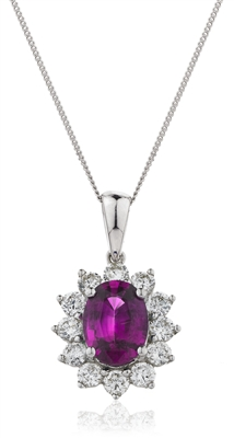 Oval Shaped Ruby & Diamond Pendant DHLMJBJP0102RY Image