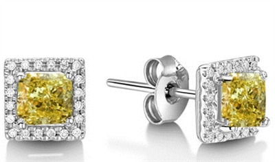 Fancy Yellow Cushion Diamond Halo Earrings DHEX2887YD Image