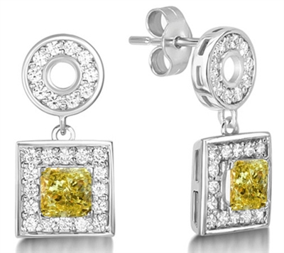 Fancy Yellow Cushion Diamond Halo Earrings DHMTER082YD Image