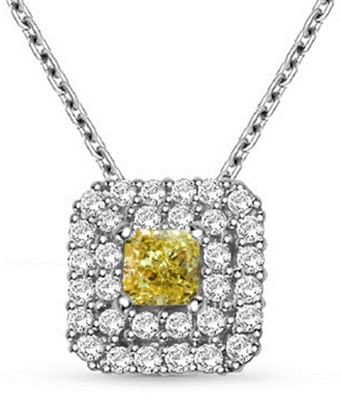 Fancy Yellow Cushion Diamond Halo Pendant DHBC261YD Image