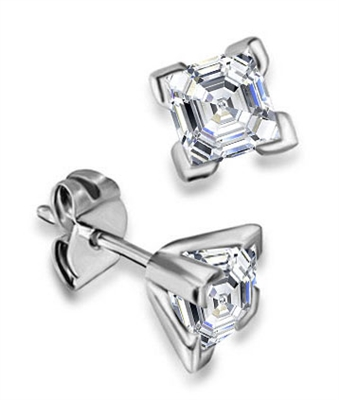Four Corner Prong Asscher Diamond Stud Earrings DHDOMEXHAS Image