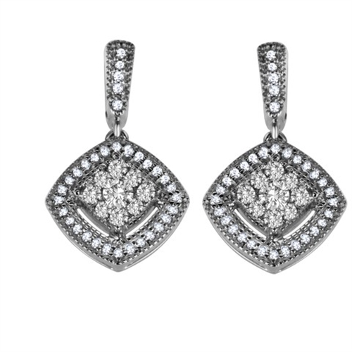 Round Diamond Drop Earrings