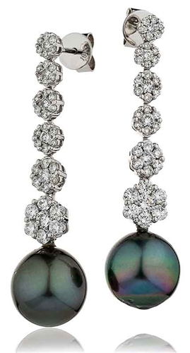 Diamond & Black Pearl Drop Earrings