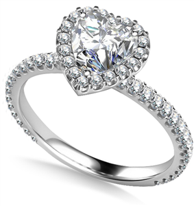 18ct White Gold Heart Shaped Diamond Halo Engagement Rings
