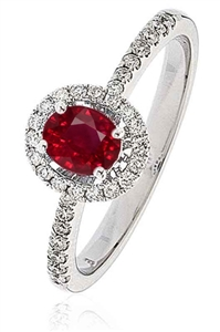 Image for 0.70CT Ruby & Diamond Halo Ring
