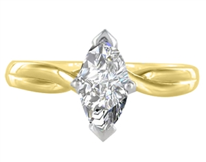 18ct Yellow Gold Marquise Cut Diamond Solitaire Engagement Rings