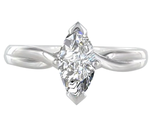 18ct White Gold Marquise Cut Diamond Solitaire Engagement Rings