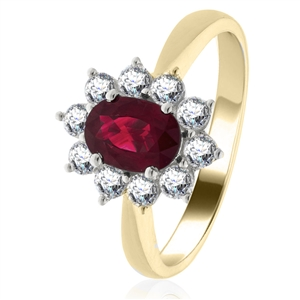 Image for 0.80ct Ruby & Diamond Cluster Ring