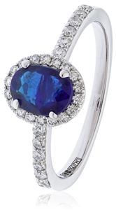Image for Blue Sapphire & Diamond Halo Ring