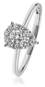 Image for 0.30CT Modern Pear Shaped Round Diamond Cluster Ring