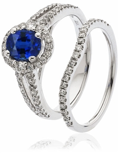 Image for 2.00CT Blue Sapphire & Diamond Bridal Set Ring