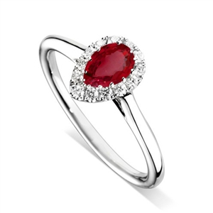 Image for Pear Ruby & Diamond Halo Ring