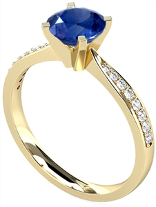 Image for Round Blue Sapphire & Diamond Shoulder Set Ring
