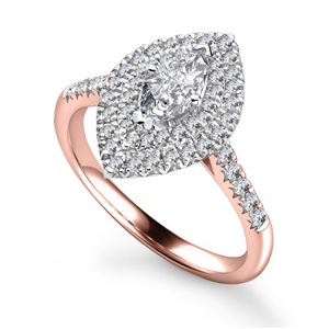 Image for Marquise Diamond Double Halo Shoulder Set Ring