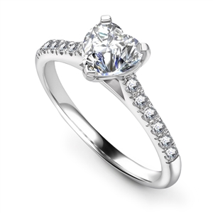 Image for Modern Heart Diamond Shoulder Set Ring