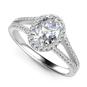 Image for Unique Oval Diamond Halo Shoulder Set Ring