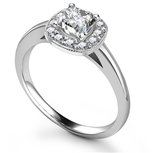 Image for Princess Diamond Single Halo Milgrain Ring