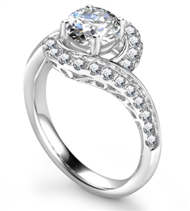 Image for Twisted Round Diamond Shoulder Set Ring