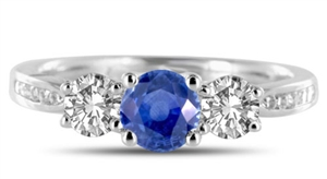 Image for 3 Stone Blue Sapphire/Diamond Ring with Shoulder Diamonds