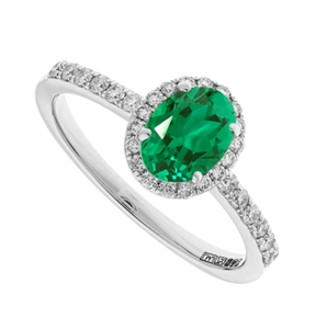 Image for 1.10CT Emerald & Diamond Halo Ring