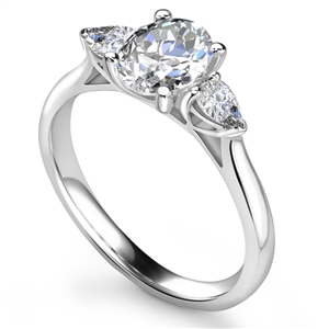 Palladium Oval Cut Diamond Trilogy Engagement Rings
