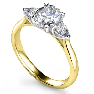 18ct Yellow Gold Oval Cut Diamond Trilogy Engagement Rings