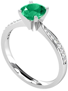 Image for Round Emerald & Diamond Halo Ring