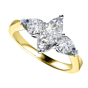 Image for Unique Marquise & Pear Diamond Trilogy Ring