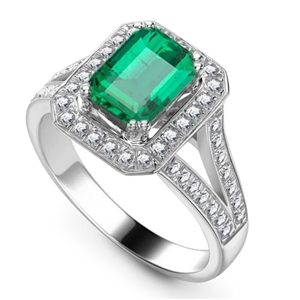 Image for Emerald & Diamond Single Halo Shoulder Set Ring