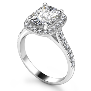 Image for Long Cushion Diamond Halo Shoulder Set Ring