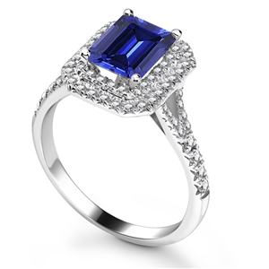 Image for Blue Sapphire & Diamond Double Halo Shoulder Set Ring