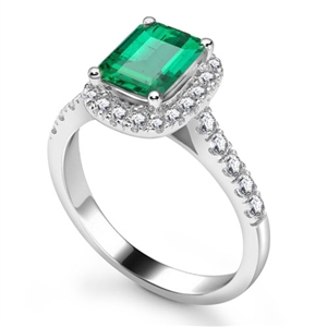 18ct White Gold Emerald Cut Engagement Rings