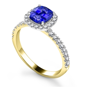 Image for Blue Sapphire & Diamond Single Halo Shoulder Set Ring