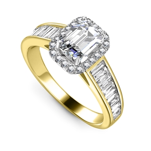18ct Yellow Gold Emerald Cut Halo Engagement Rings