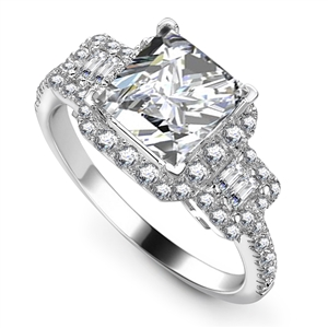 Platinum Princess Cut Vintage Engagement Rings