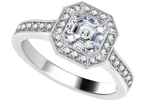 18ct White Gold Asscher Cut Engagement Ring