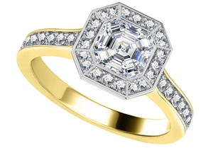 18ct Yellow Gold Asscher Cut Diamond Halo Engagement Rings