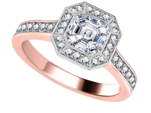 18ct Rose Gold Asscher Cut Diamond Halo Engagement Rings
