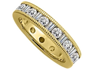 Image for 2.00ct Milgrain Round & Baguette Diamond Full Eternity Ring