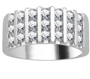 Image for 9mm Triple Row Round Diamond Mens Ring