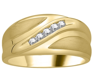 Men's 18ct Yellow Gold Diamond Wedding Rings